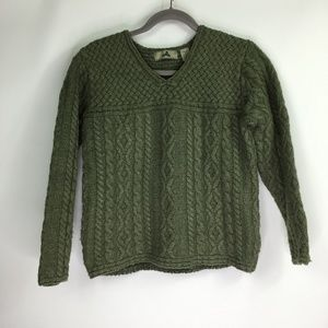 EMS Dark Green Knit Wool Sweater Sz Med